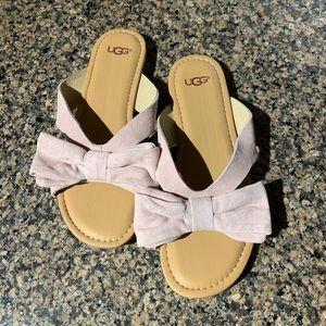 Ugg Pink Suede Flip Flops Sandals 7